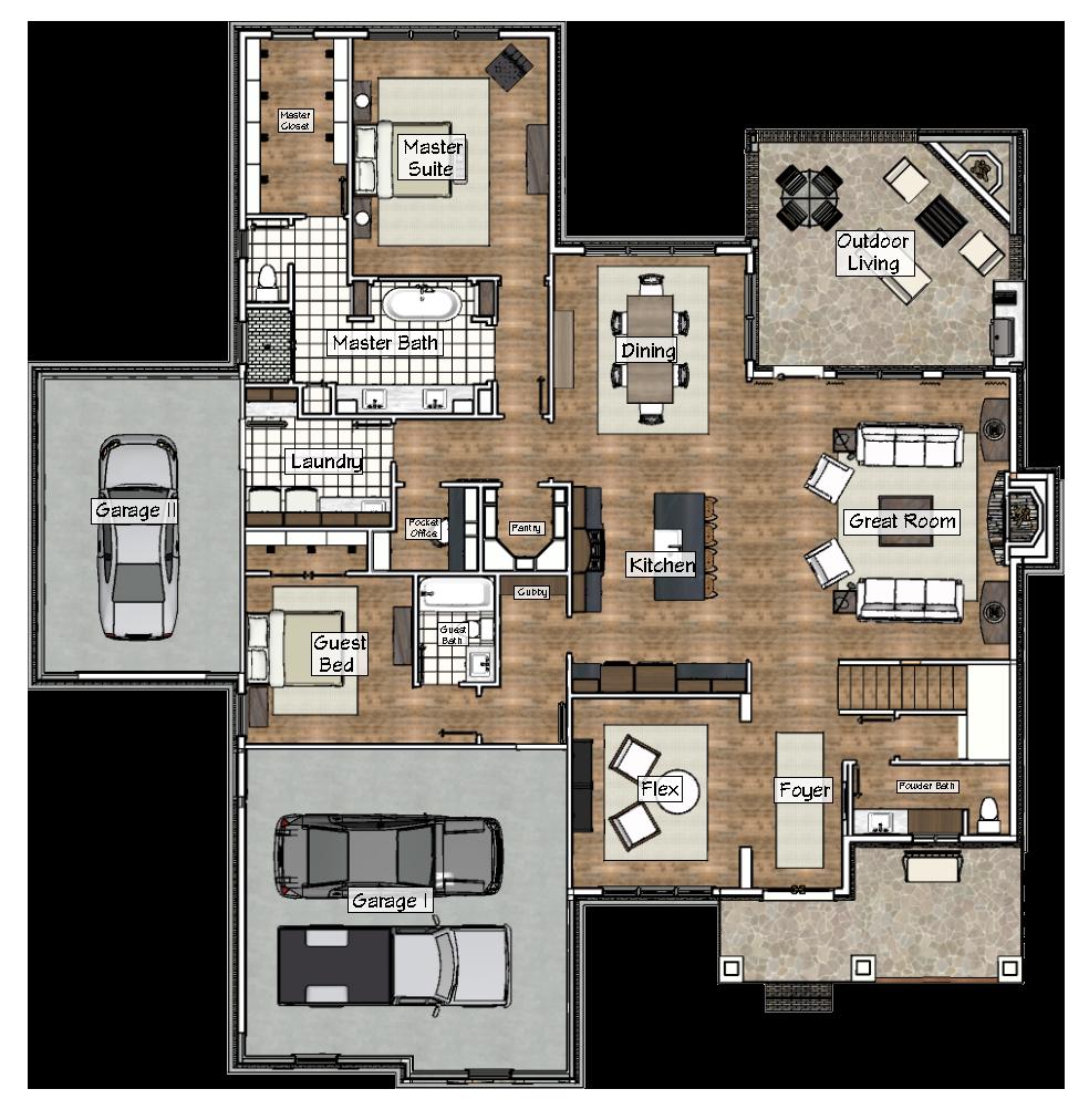 Main Level Floorplan of the 2017 Showcase Home