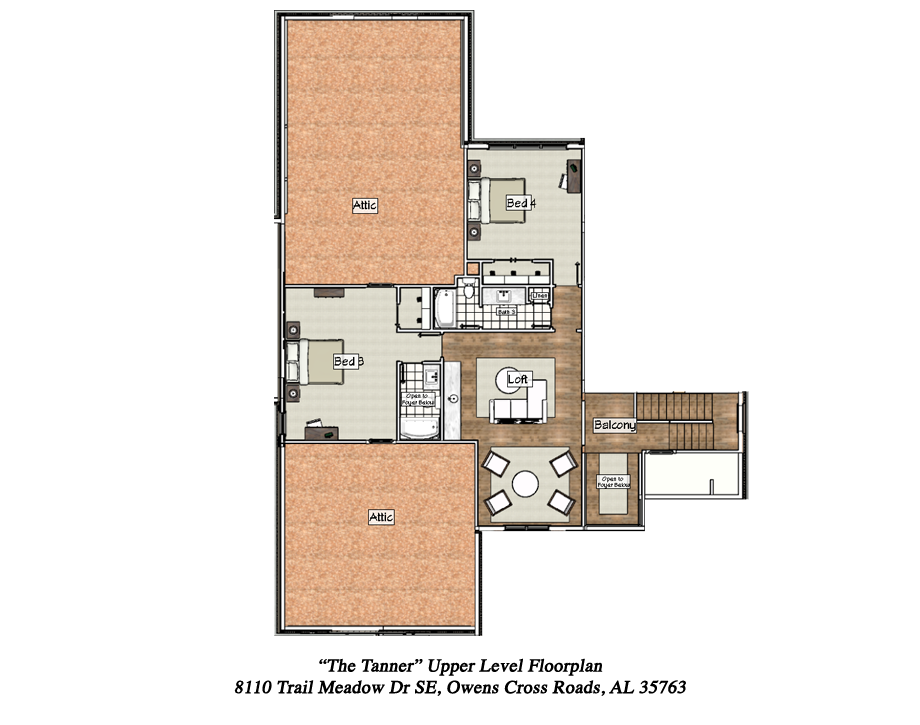 Upper Level Floorplan of 2017 Showcase Home