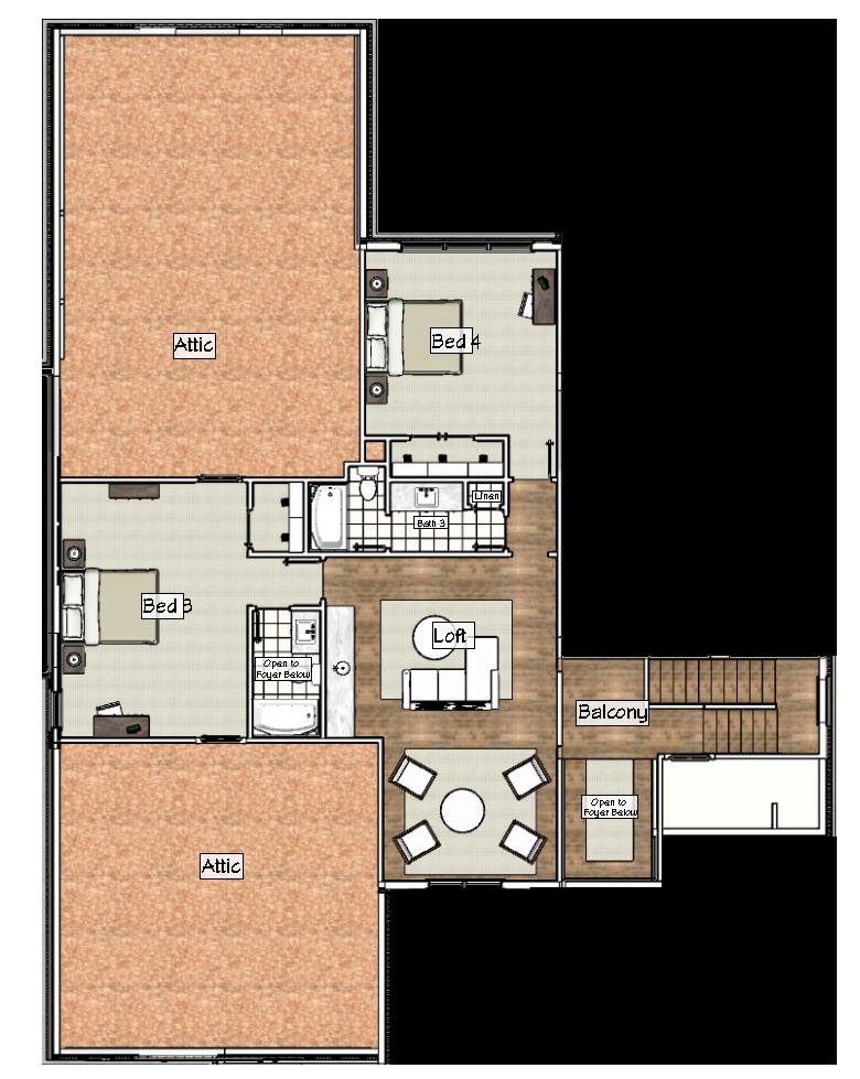 Upper Level Floorplan of  2017 Showcase Home