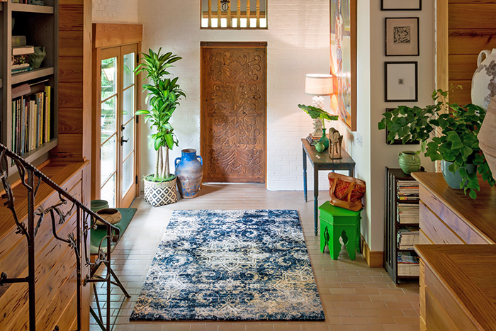 Blue & White Rug in a room setting