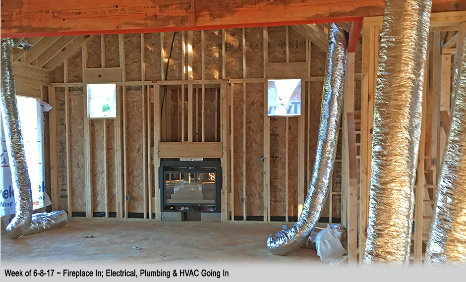 Week of 6-8-17 ~ Fireplace in; electrical, plumbing & HVAC going in